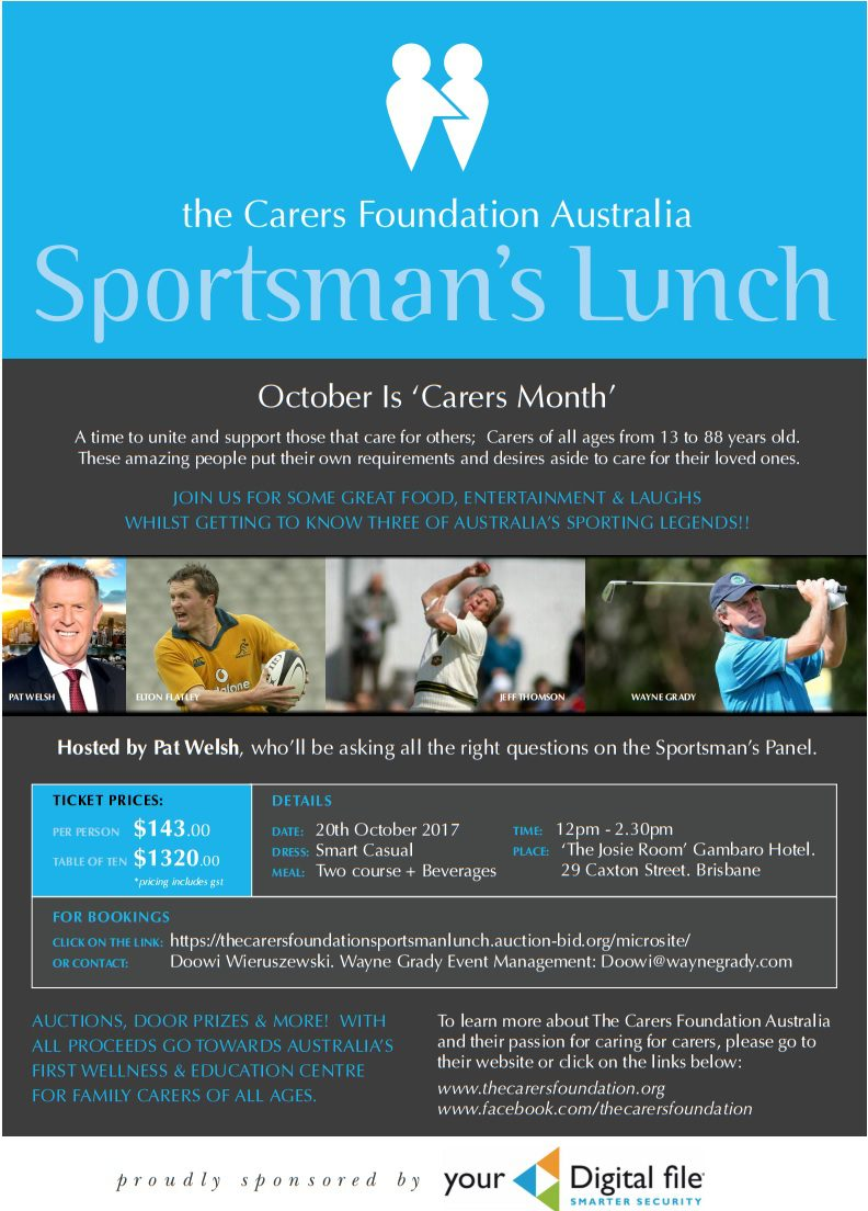 The Carers Foundation Australia Sportsman's Luncheon OCTOBER 20th
